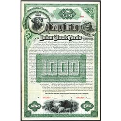The Chicago Junction Railways and Union Stock Yards Co. 1890 Specimen Bond.
