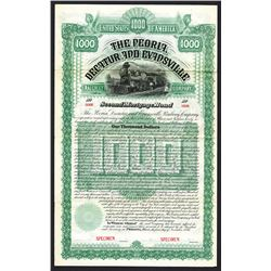 Peoria, Decatur and Evansville Railway 1886 Specimen Bond.