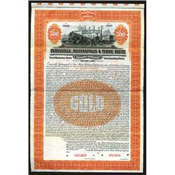 Evansville, Indiana and Terre Haute Railway Specimen Bond. 1920.