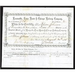 Evansville, Terre Haute & Chicago Railway Company Issued Shares. 1884.