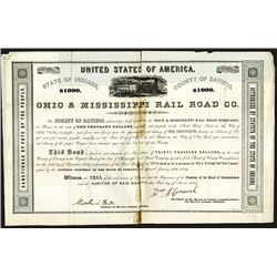 Ohio & Mississippi Railroad Issued Bond. 1853.