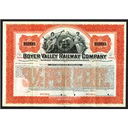 Boyer Valley Railway Co., 1898 Specimen Bond.