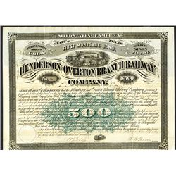 Henderson & Overton Branch Railway Co., 1876 Bond.
