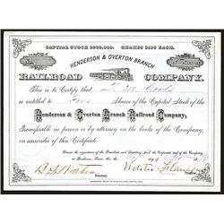 Henderson & Overton Railroad Co., 1880 Stock Certificate.