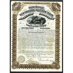 Huntsville, New Orleans and Western Railway Co., 1882 Issued Bond.