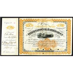International Railroad Co., 1872 I/C Stock Certificate with Imprinted Revenue RN-U1.