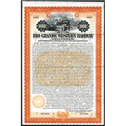 Rio Grande Western Railway Co., 1899 Specimen Bond.