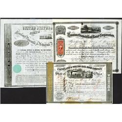 Attractive Railroad Bond & Stock Certificate Group.
