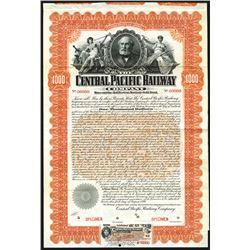 Central Pacific Railway Co. 1899. Specimen Bond.