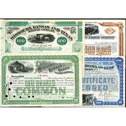 Miscellaneous Railroad Stock Certificate Assortment ca.1870-1900's.