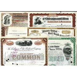 Railroad Stock Certificate Lot with Issued and Unissued Certificates.