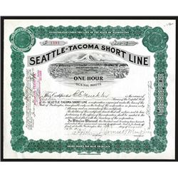 """Seattle-Tacoma Short Line """"One Hour Scenic Route"""" 1910 Stock Certificate."""