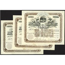 Magnetic Electric Company, 1894 Stock Certificate Trio.