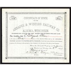 Ahnapee & Western Railway Company Issued Shares. 1914.
