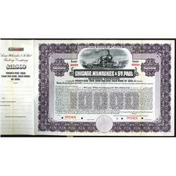 Chicago, Milwaukee and St. Paul Railway Co. 1909 Specimen Bond.