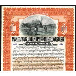Manitowoc, Green Bay and North-Western Railway Co., 1906, $1000 Specimen Bond.