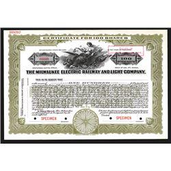 Milwaukee Electric Railway and Light Co., ca.1921 Specimen Stock Certificate.