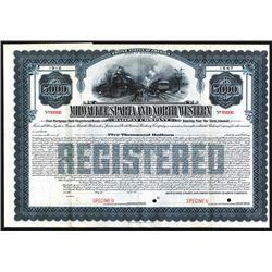 Milwaukee, Sparta and North Western Railway Co., 1912, $5000 Specimen Bond.