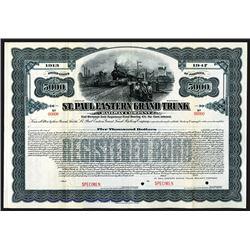 St. Paul Eastern Grand Trunk, 1913 Specimen Registered 4 1/2% Gold Bond.