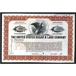 United States Sugar & Land Co., ND ca.1910-20's Specimen Stock Certificate.