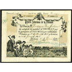 Centro Asturiano de la Havana Issued Shares. 1908. Havana, Cuba. Tan border and tint, subscription c