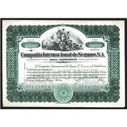 Compania Internacional de Seguros, S. A. Specimen Shares. CA 1920.