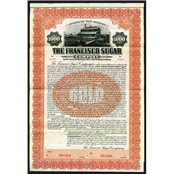 Francisco Sugar Co. 1909 Specimen Bond.