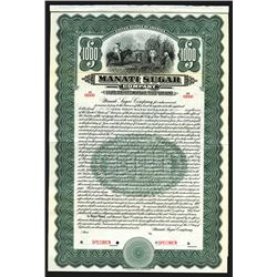 Manati Sugar Co. 1912 Specimen Bond.