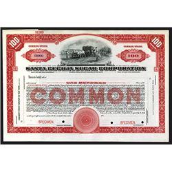 Santa Cecilia Sugar Corp., ND ca.1910-20's Specimen Stock Certificate.