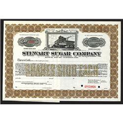 Stewart Sugar Co., 1906 Specimen Stock Certificate.