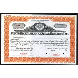 Porto Rican American Sugar Refinery Co., ND ca.1910-20's Specimen Stock Certificate.