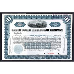 South Porto Rico Sugar Co., ca. 1901 Specimen Stock Certificate.