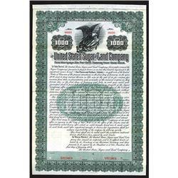 United States Sugar & Land Company Specimen Bond. 1909.
