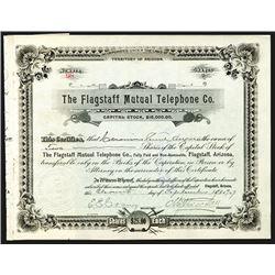 Flagstaff Mutual Telephone Co., 1907, 2 Shares I/U Stock Certificate.
