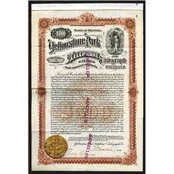 Yellowstone Park Telephone and Telegraph Co. 1901 Gold Bond.