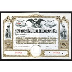 New York Mutual Telegraph Company Specimen Shares. CA 1900.