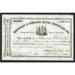 Hoboken & Hudson River Turnpike Co., 1858 Stock Certificate.