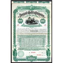 Passaic Water Co. 1887 Specimen Bond.