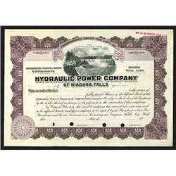 Hydraulic Power Company of Niagara Falls Specimen Shares. 1918.