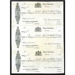 Bank of Australasia 1860's Proof Bill of Exchange Uncut Sheet of 3 Exchanges.