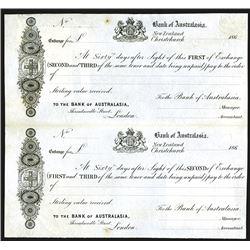 Bank of Australasia 1860's Proof Bill of Exchange Pair.