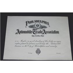 Philadelphia Automobile Trade Ass., Membership Certificate Proof.