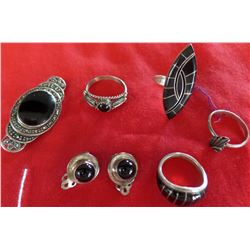 Collection of Miscellaneous Jewelry w/ Jet and Sterling Silver