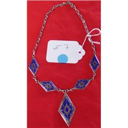 Sterling Silver Signed Inlaid Necklace- Lapis Azul