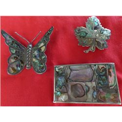 Group of Silver and Abalone Jewelry Pieces