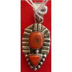 Sterling Silver & Coral Pendant