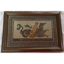 Framed Picture of a Middle eastern woman on a Mythical Animal  Mosaic Picture