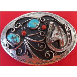 Sterling & Nickel Silver Belt Buckle w/Coral & Turquoise Stones
