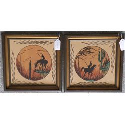 Pair of Framed Sand Paintings