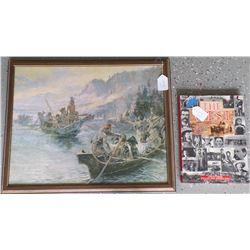 Framed painting (Copy) of Charles Russell and Book